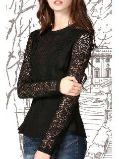 Lace Mesh Embroidered Peplum Top - Black M