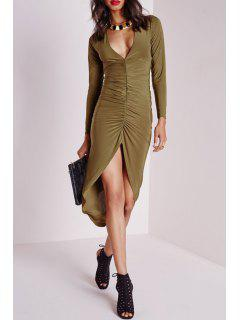 Ruched High Low V Neck Long Sleeve Dress - Army Green Xl