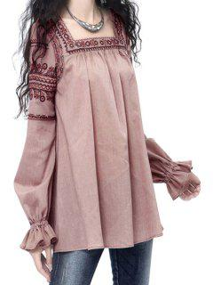 Square Neck Embroidered Fall Top - Pink L