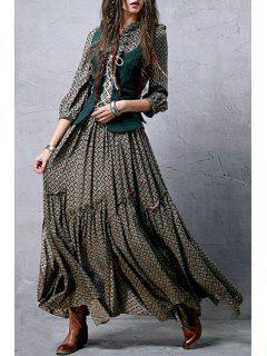 Robe Florale De Style Bohémien à Col Montant Et Ourlet à Volants - Vert Foncé M
