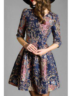 Jacquard Pattern Half Sleeve Flare Dress - Blue S
