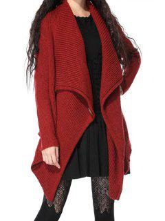 Angle Front Button Design Cardigan - Red
