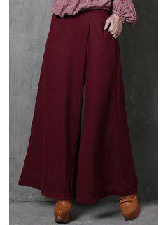 Wide Leg Pocket Wine Red Pants - Wine Red S