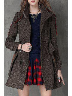 Double-Breasted Big Pockets Belted Coat - Coffee S