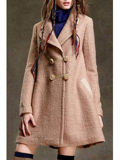 Apricot Pocket Design Wool Coat - Apricot M
