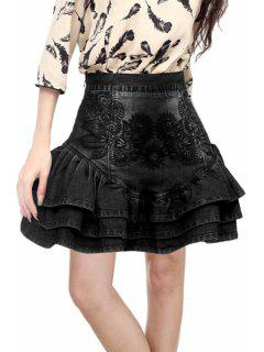 Embroidered Flouncing Mini Skirt - Black M