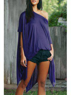 Asymmetric Batwing Sleeves Loose Fitting Solid Color Dress - Sapphire Blue