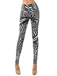 Abstract Print Skinny High Elasticity Pants - White And Black S