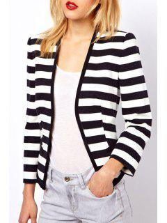 Striped Collarless Long Sleeves Coat - White And Black Xl