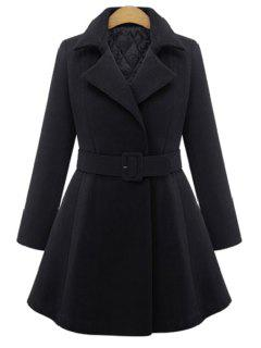 Pure Color Lapel Long Sleeve A Line Coat - Black Xl