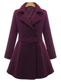 Pure Color Lapel Long Sleeve A Line Coat - Wine Red 2xl