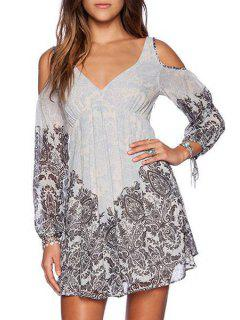 Printed Plunging Neck Long Sleeves Cut Out Dress - Gray Xl