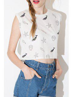 Cartoon Print Round Collar Sleeveless Crop Top T-Shirt - White Xl