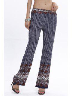 Flare Vintage Print Pants - Purplish Blue L