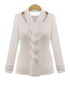 Cable Knit Hollow Out Knitwear - White