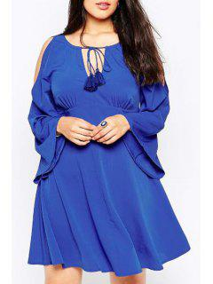 Bell Sleeve Lace-Up Plus Size Dress - Blue 3xl