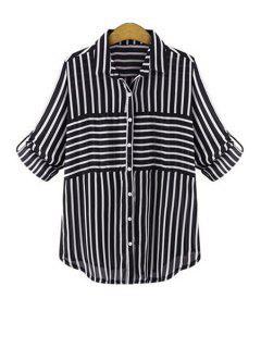 Polo Collar Striped Single-Breasted Shirt - Black L