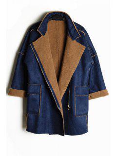 Fleece Turn-Down Collar Long Sleeves Loose-Fitting Coat - Blue