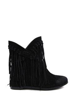 Tassel Solid Color Cross Straps Ankle Boots - Black 35