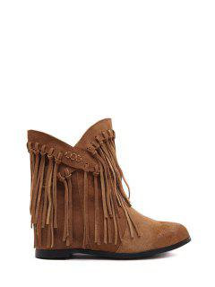Tassel Solid Color Cross Straps Ankle Boots - Brown 37