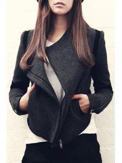 Color Block Zip-Up Wool Jacket - Deep Gray Xl