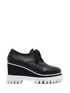 Color Matching Lace-Up Platform Shoes - Black 39