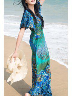 Ethnic Print V Neck Short Sleeve Maxi Dress - Blue