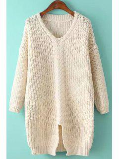 Cable Knit Front Slit Sweater - White