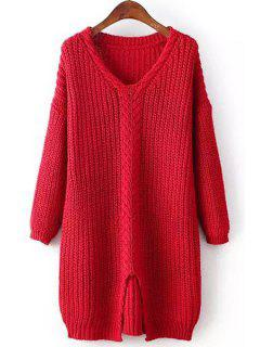 Cable Knit Front Slit Sweater - Red