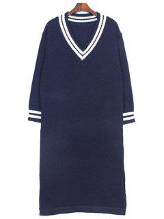 Plunging Neck Long Sleeves Side Slit Sweater Dress - Deep Blue