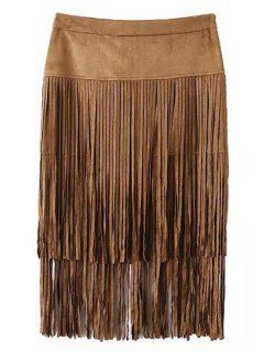 Tassels Packet Buttocks Pencil Skirt - Brown L
