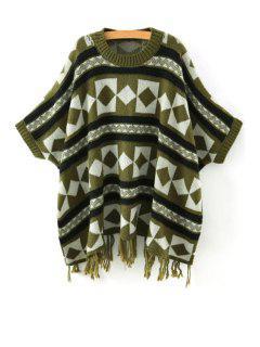 Batwing Sleeve Fringed Jacquard Sweater - Green