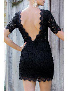 Lace Backless Round Neck Short Sleeve Dress - Black S