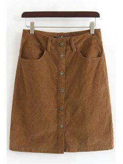 Single-Breasted A-Line Corduroy Skirt - Brown L