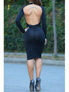 Open Back Stand Neck Long Sleeve Bodycon Dress - Black M