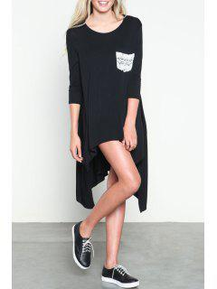 3/4 Sleeve Irregular Hem Dress - Black Xl