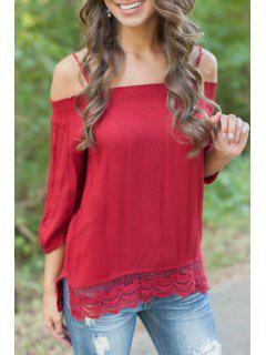 Lace Splicing Slash Neck Straps Solid Color T-Shirt - Red S