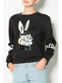 Cartoon Print Round Collar Long Sleeves Black Sweatshirt - Black 2xl