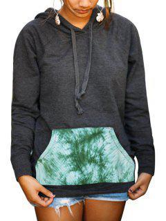 Print Spliced Long Sleeve Pullover Hoodie - Gray S