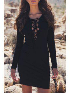 Plunging Neck Lace-Up Bodycon Dress - Black M