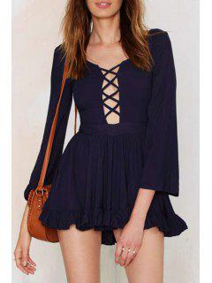 Plunging Neck Bell Sleeve Ruffled Dress - Black S