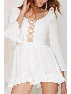 Plunging Neck Bell Sleeve Ruffled Dress - White S