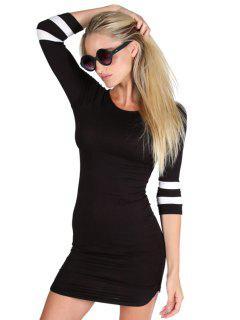 3/4 Sleeve Striped Bodycon Dress - Black L