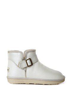 Buckle Pure Color Plush Snow Boots - White 39