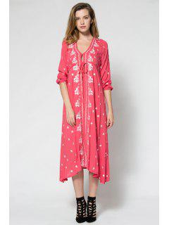 Tiny Floral Embroidery Tie-Up 3/4 Sleeve Dress - Watermelon Red L