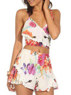 Crop Top And Floral Wide Leg Shorts Suit - Jacinth Xl