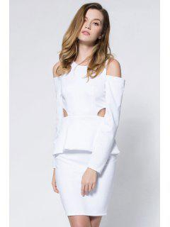 Crepe Cold Shoulder Cage Back Body-Conscious Dress - White M
