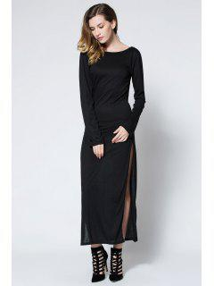 Low Back High Slit Maxi Dress - Black L