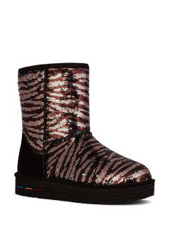 Sequined Platform Color Block Snow Boots - Chocolate 38