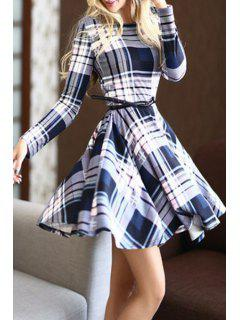 Long Sleeve Plaid Cocktail Dress - Gray And White And Blue Xl